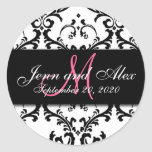 Black White Damask Save the Date Sticker