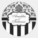 Black White Damask Stripe Wedding Sticker