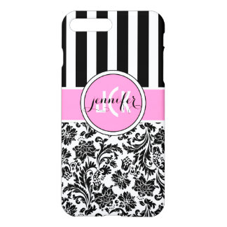 Black & White Damask & Stripes Pattern iPhone 7 Plus Case