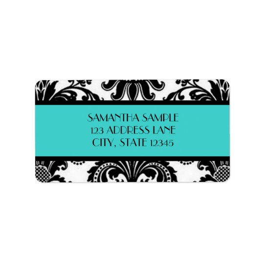 Black & White Damask, Turquoise