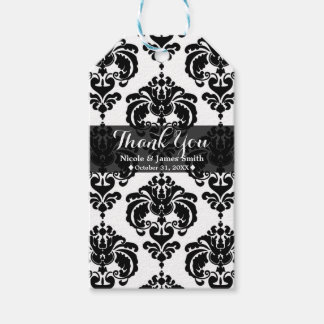 Black & White Damask Vintage Wedding Event Favor Gift Tags