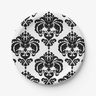 Black & White Damask Vintage Wedding Event Party Paper Plate