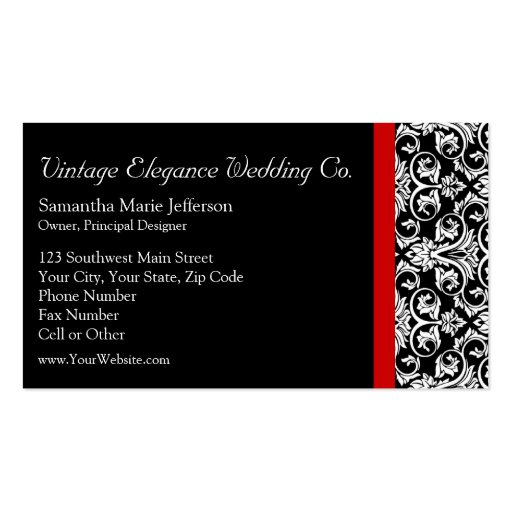 Black/White Damask w/ Red Accent Fashion Business Business Card Templates