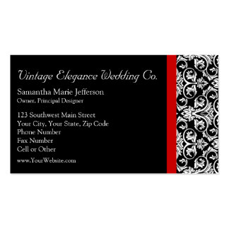 Black/White Damask w/ Red Accent Fashion Business Pack Of Standard Business Cards