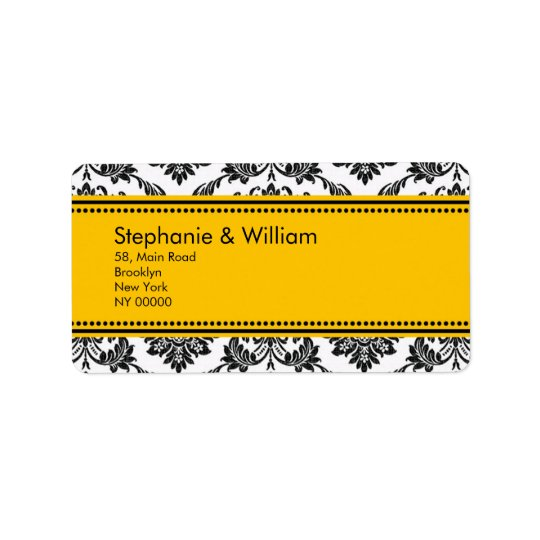 Black & White Damask Wedding Address Labels
