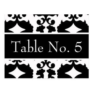Black & White Damask Wedding Postcard Table #'s