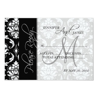 Black White Damask Wedding RSVP Card