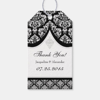 Black White Damask Wedding Thank You Tags