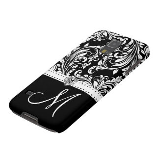Black & White Damask with Diamond Heart & Monogram Galaxy S5 Cases