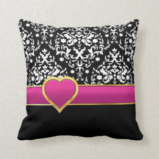 Black white damask with hot pink band and heart throw pillow