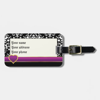 Black white damask with purple band and heart luggage tag