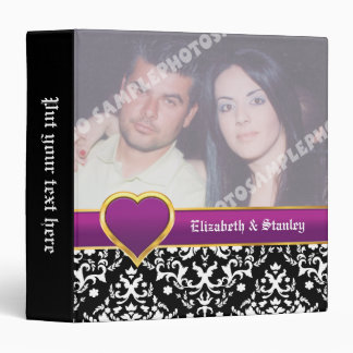 Black white damask with purple heart wedding 3 ring binders