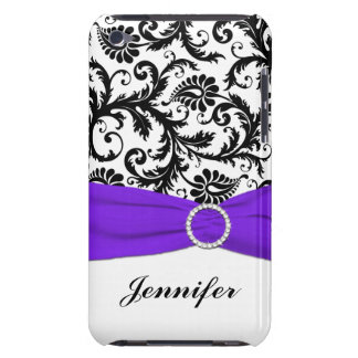 Black & White Damask with Purple iPod Touch Case