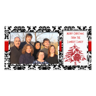 Black & White Damask With Red Tree Merry Christmas Photo Greeting Card