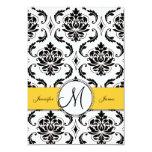Black White Damask Yellow Wedding Reception Cards Custom Invite