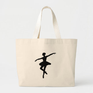 Black & White Dancing Ballerina Silhoutte Large Tote Bag