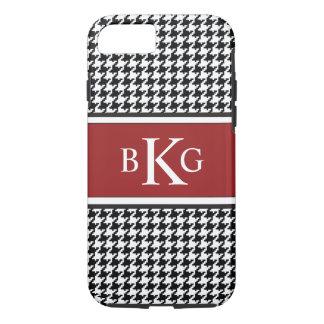 Black White Dark Red Houndstooth Pattern iPhone 7 Case