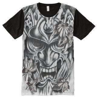 Black & White Demon Mask Charcoal Art