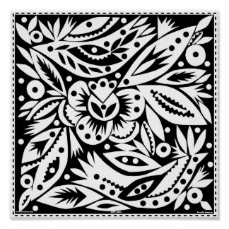 Black & White Designs: Negative Image Lovebirds Poster