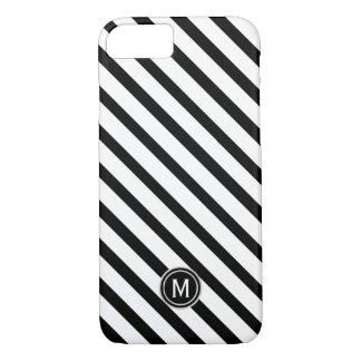 Black & White Diagonal Stripe Monogram Case-Mate iPhone Case