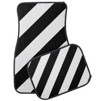 Black & White Diagonal Stripes Car Mat