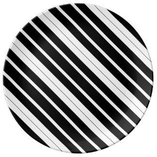 Black & White Diagonal Stripes Porcelain Plate