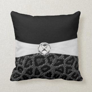 Black White  Diamond Accent Leopard Print Throw Pi Throw Pillow