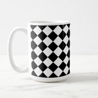 Black White Diamond Check pattern Basic White Mug