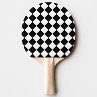 Black White Diamond Checkerboard Ping Pong Paddle