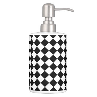 Black White Diamond Checkerboard Soap Dispenser And Toothbrush Holder