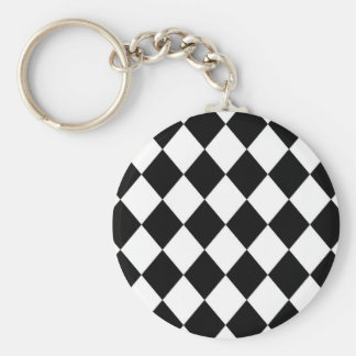 Black & White Diamond Checkered Pattern Basic Round Button Keychain