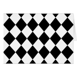 Black & White Diamond Checkered Pattern Card