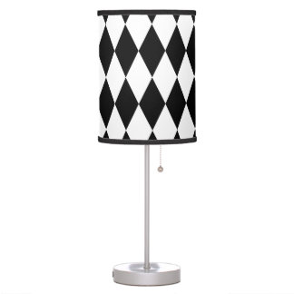 Black & White Diamond Harlequin Pattern Desk Lamps
