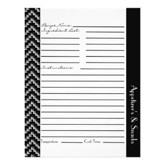 Black White Diamond Zigzag Chevrons Recipe Sheets Flyer