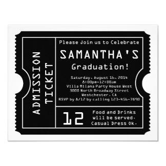 "Black/White Digital Graduation Ticket Invitation 4.25"" X 5.5"" Invitation Card"