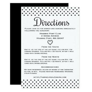 "Black & White Directions Details Polka Dots Hearts 5"" X 7"" Invitation Card"