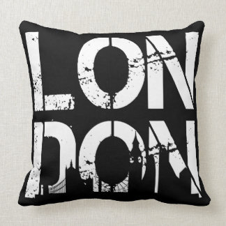 Black White Distressed London and famous landmarks Throw Pillow