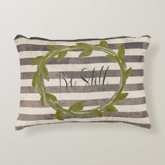 Black & White Distressed Stripe Ivy Wreath Pillow