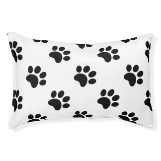 Black White Dog Paw Print Pattern on Custom Color Pet Bed