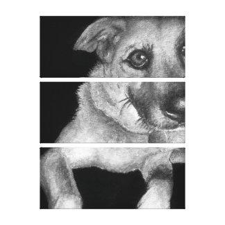 Black & White Dog Portrait Hand Painted Canvas Print