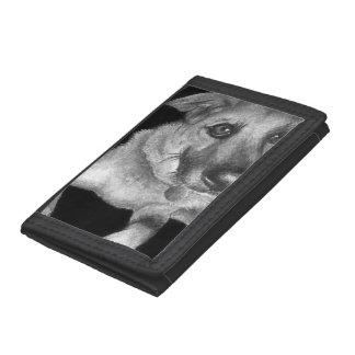 Black & White Dog Portrait Hand Painted Tri-fold Wallets
