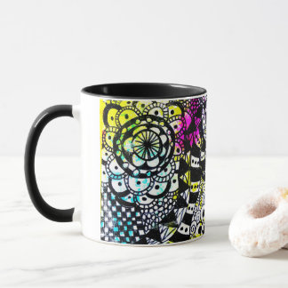 Black White Doodle Geometric Paint Splatter Bright Mug