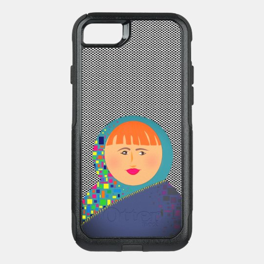 Black White Dots Cartoon Girl Bold Colourful OtterBox Commuter iPhone 7 Case