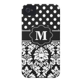 Black White Dots Damask Monogram Case-Mate iPhone 4 Cases