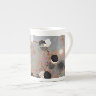Black white dots grunge style unity digital art tea cup