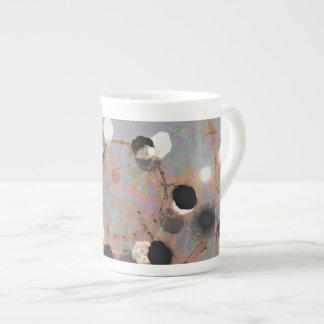 Black white dots grunge style unity digital art tea cup