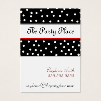 Black & White Dots-Maroon Business Card