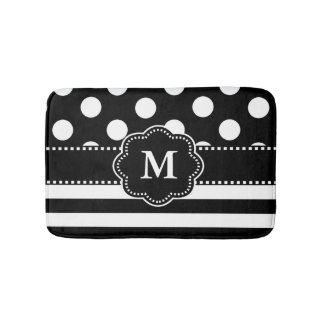 Black White Dots Stripe Monogram Bath Mat