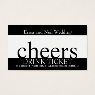 Black White Drink Ticket for Wedding Receptions
