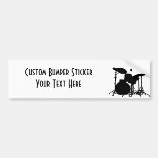 Black & White Drum Kit Silhouette - For Drummers Bumper Sticker